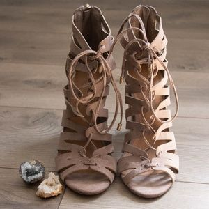 Taupe Colored Strapy Heels